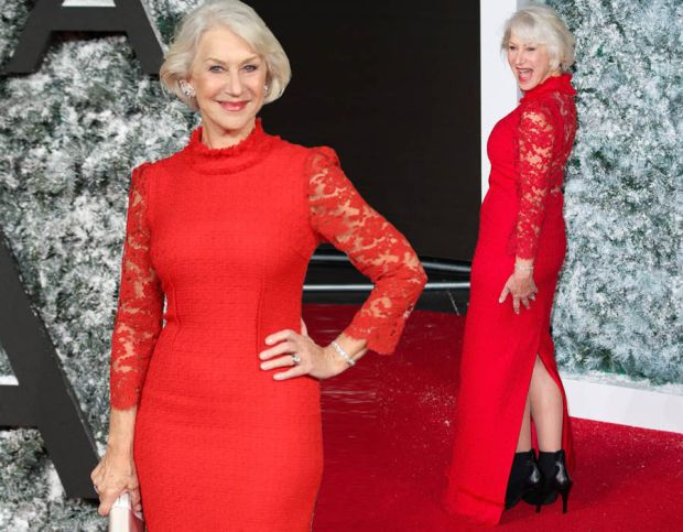 Dame Helen Mirren, 71, looks forever young as she flaunts figure in stunning scarlet gown