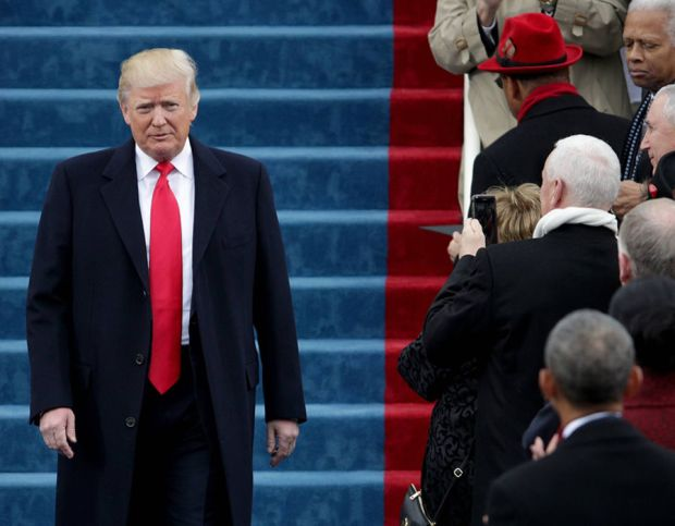 President Elect Donald Trump arrives on the West Front of the U.S. Capitol on January 20, 2017 in Washington, DC.