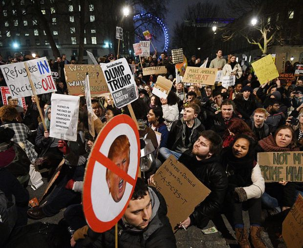 Britons protest against US President Trump's executive order on immigration
