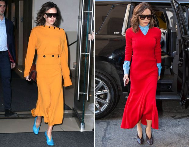 Victoria Beckham in red and orange New York