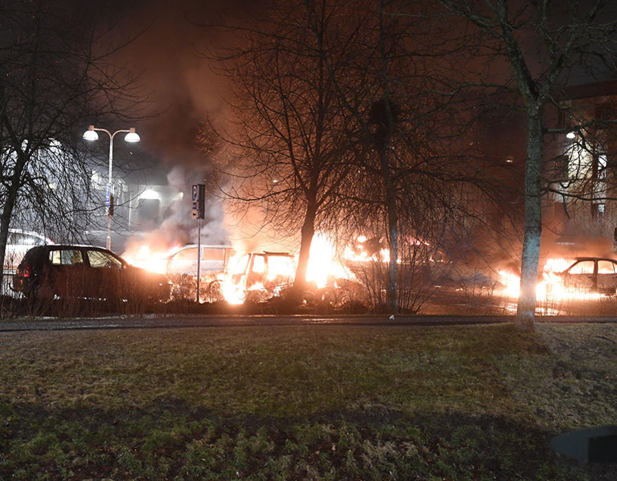 Riots in Stockholm, Sweden - 20 Feb 2017