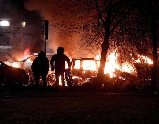 Riots in Stockholm, Sweden - 20 Feb 2017