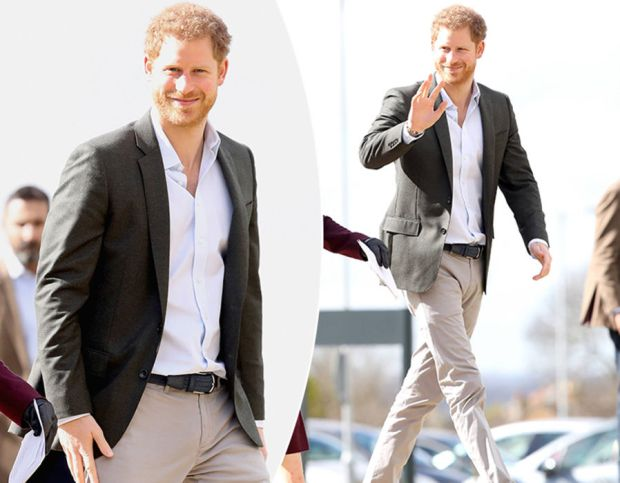 Prince Harry during a visit to Hamilton College on March 21, 2017 in Leicester