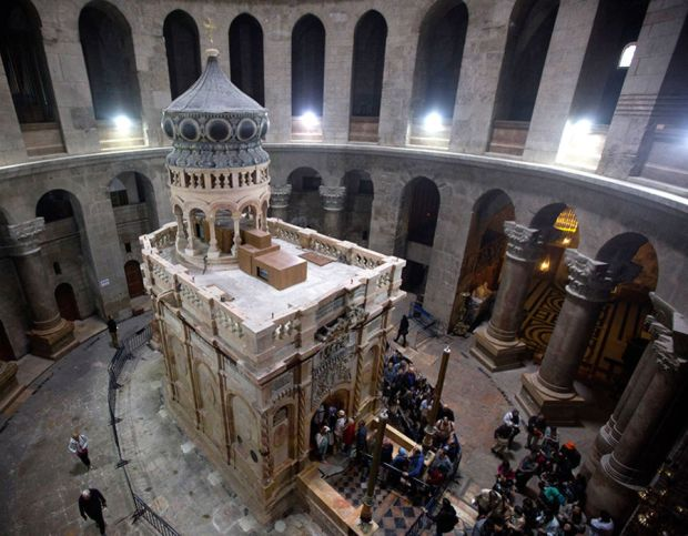The tomb of Jesus Christ with the rotunda is seen in the Church of the Holy Sepulchre