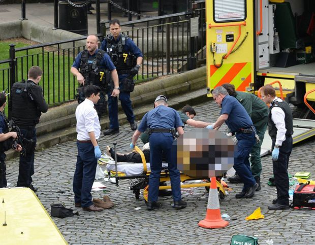 Emergency services at the scene outside the Palace of Westminster, London, after policeman has been stabbed and his apparent attacker shot by officers in a major security incident at the Houses of Parliament