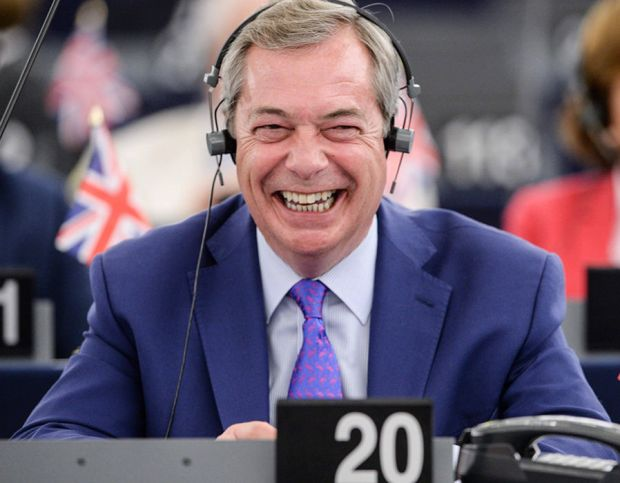Nigel Farage gestures during speeches at the European Parliament in Strasbourg, eastern France