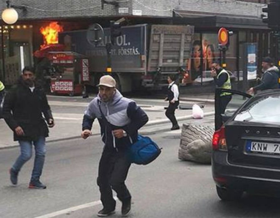 Truck rams into crowds in central Stockholm