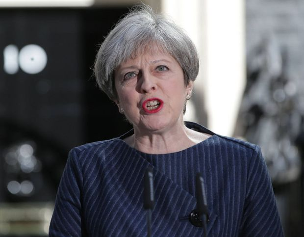 Prime minister Theresa May during an unscheduled statement outside Number 10 Downing Street, London, 18th April 2017