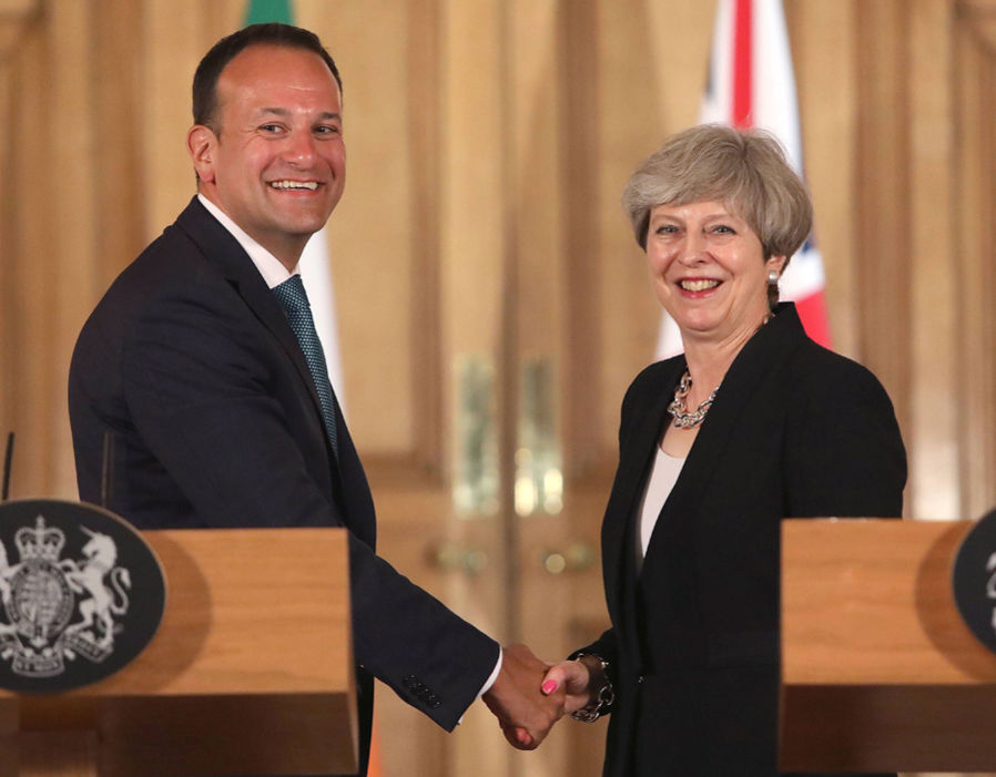 Prime Minister Theresa May with new Taoiseach Leo Varadkar during a joint press conference following a meeting at 10 Downing Street, London