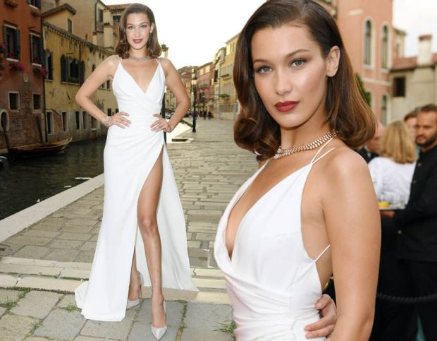 Bella Hadid puts on a leggy display as she wows in white at Venice party