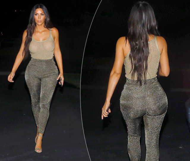 Kim Kardashian Sparkles In A Gold 2 Piece While Leaving Lascalla Restaurant In Beverly Hills