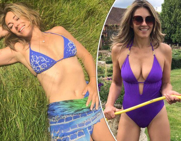 Busty Elizabeth Hurley stuns in crystal bikini