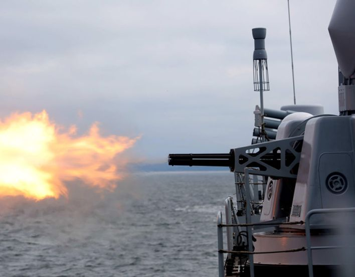 A Chinese warship operates a live-fire drill during the Joint Sea 2017 in Baltic Sea