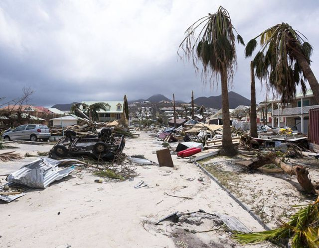 Destroyed buildings and trees after Hurricane Irma hit Saint-Martin