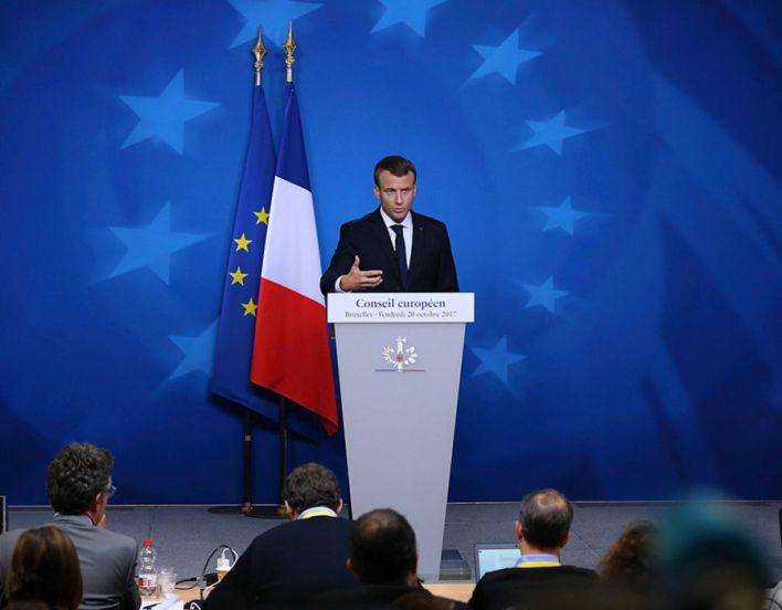 Emmanuel Macron holds a press conference on the second day of European Council meetings