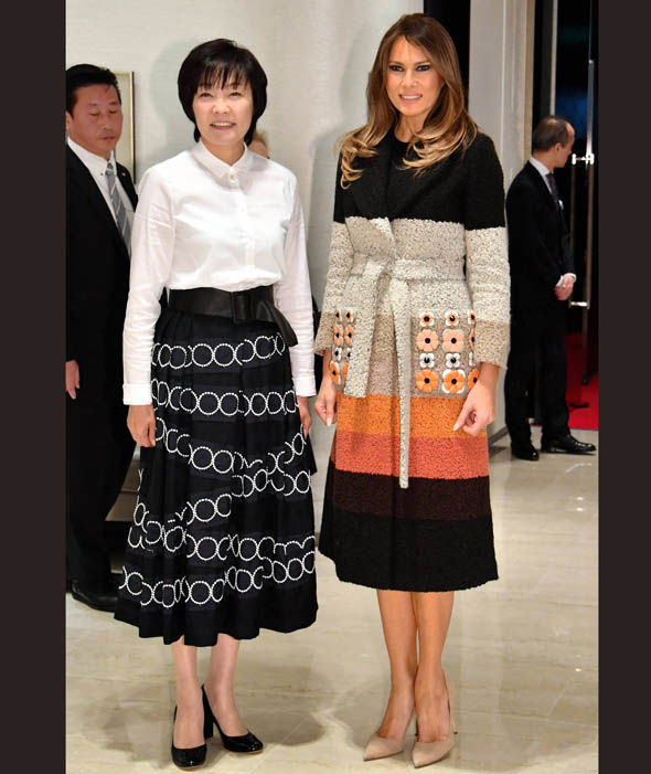Melania Trump, wife of U.S. President Donald Trump is welcomed by Akie Abe, wife of Japanese Prime Minister Shinzo Abe