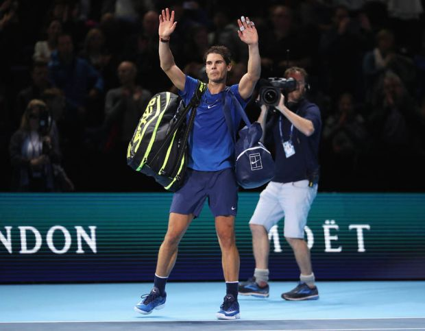 Rafael Nadal ATP World Tour Finals wave goodbye