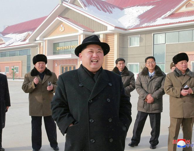 North Korea's leader Kim Jong Un is seen during the inspection of a potato flour factory in this undated photo released by North Korea's Korean Central News Agency (KCNA) in Pyongyang
