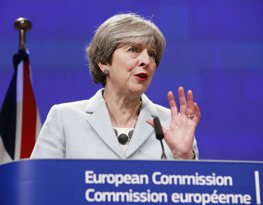 Theresa May speaks at a press conference with EU Commission President Jean-Claude Juncker (not pictured) prior to a meeting on Brexit Negotiations in Brussels  BBC Brexit bias EXPOSED: Flagship programmes under-representing anti-EU views for DECADES | Politics | News 317433