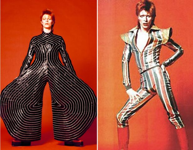 David Bowie in two wacky fashion choices.