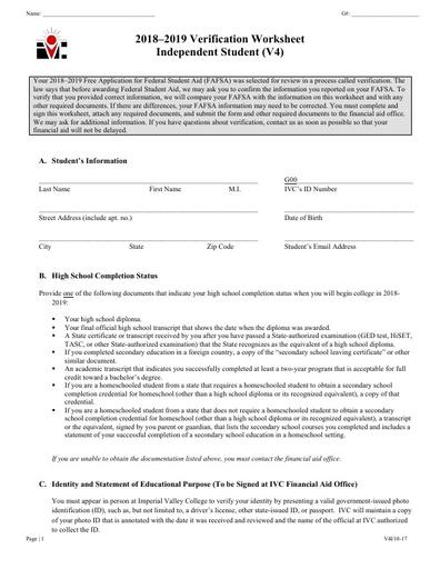 V4 Ind Verification Worksheet 18 19