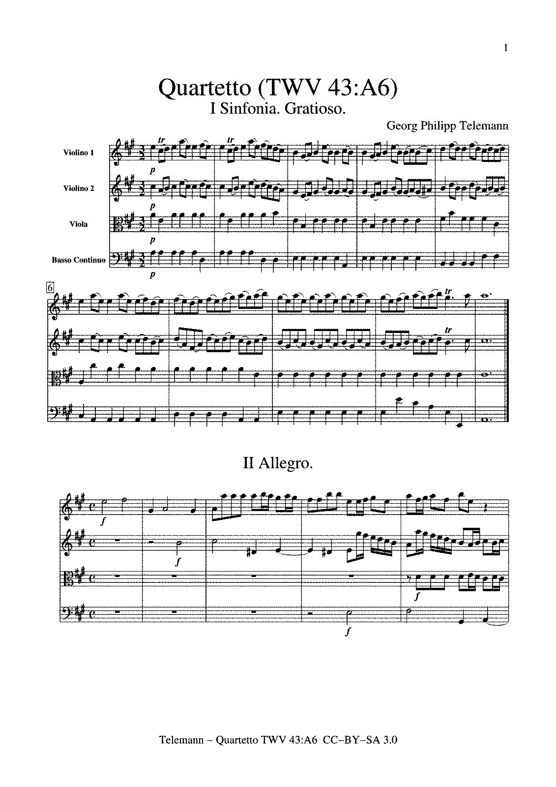 Sinfonia A 4 Twv 43 A6 Telemann Georg Philipp
