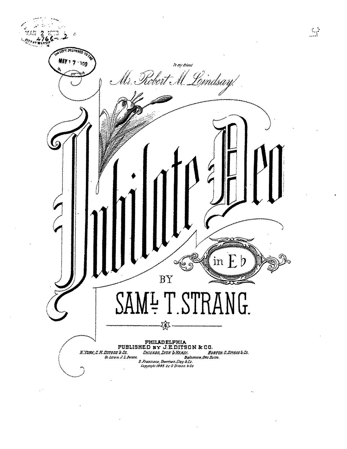 Jubilate Deo Strang Samuel Tudor