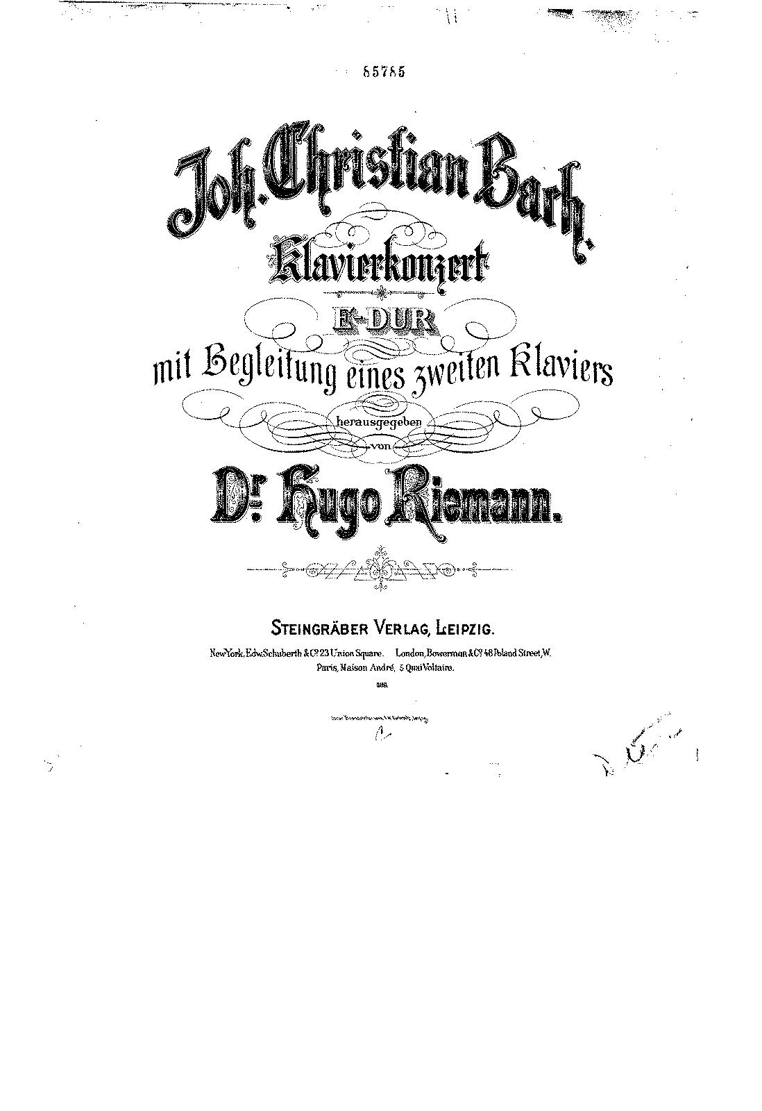 Keyboard Concerto In E Major W C 71 Bach Johann
