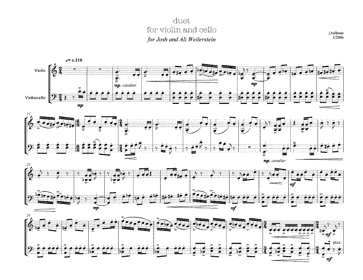 Sheet Music For Violin Cello Duets