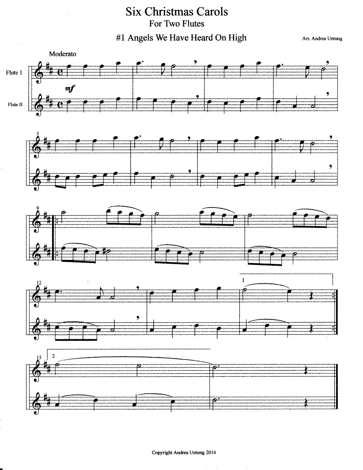 Free Christmas Sheet Music Flute Clarinet Duet