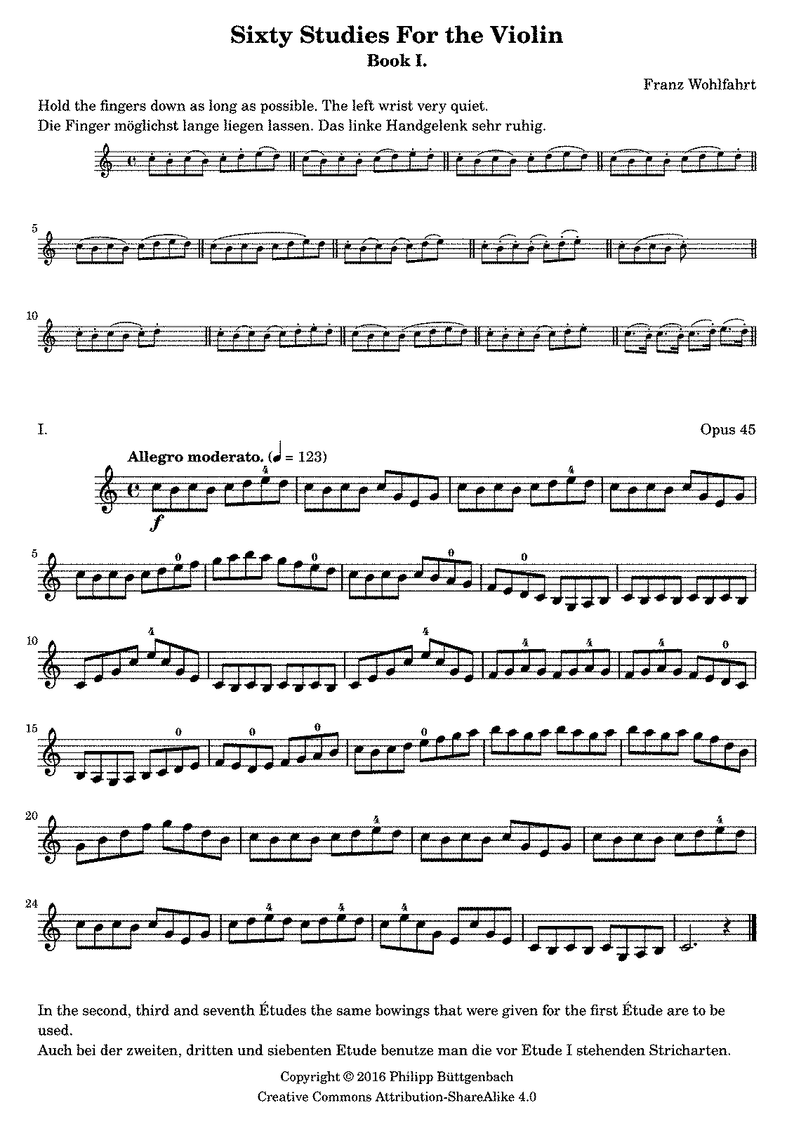 60 Stu S For The Violin Op 45 Wohlfahrt Franz