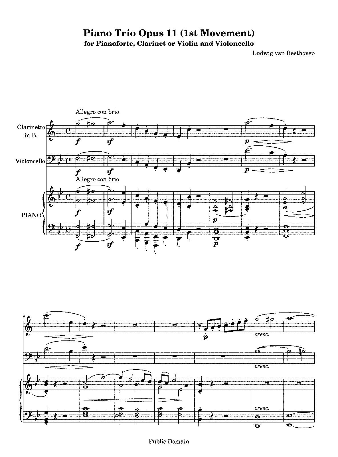 Free Sheet Music Clarinet Trio