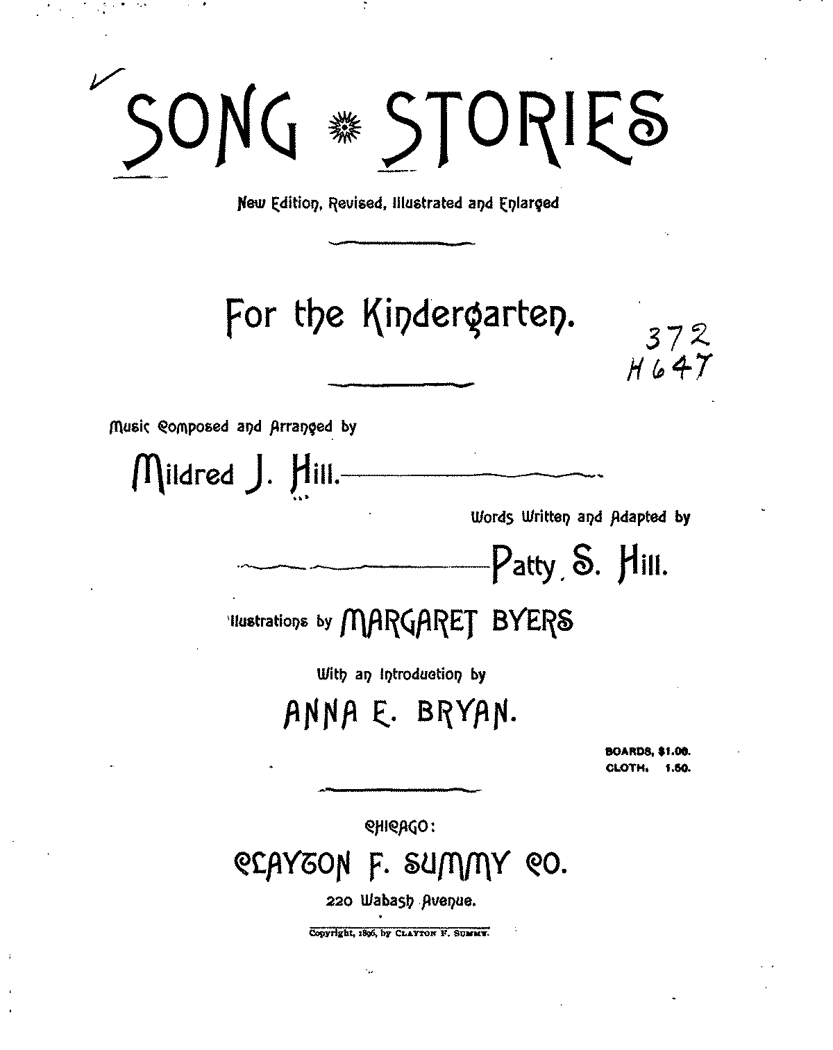 Song Stories For The Kindergarten Hill Mildred