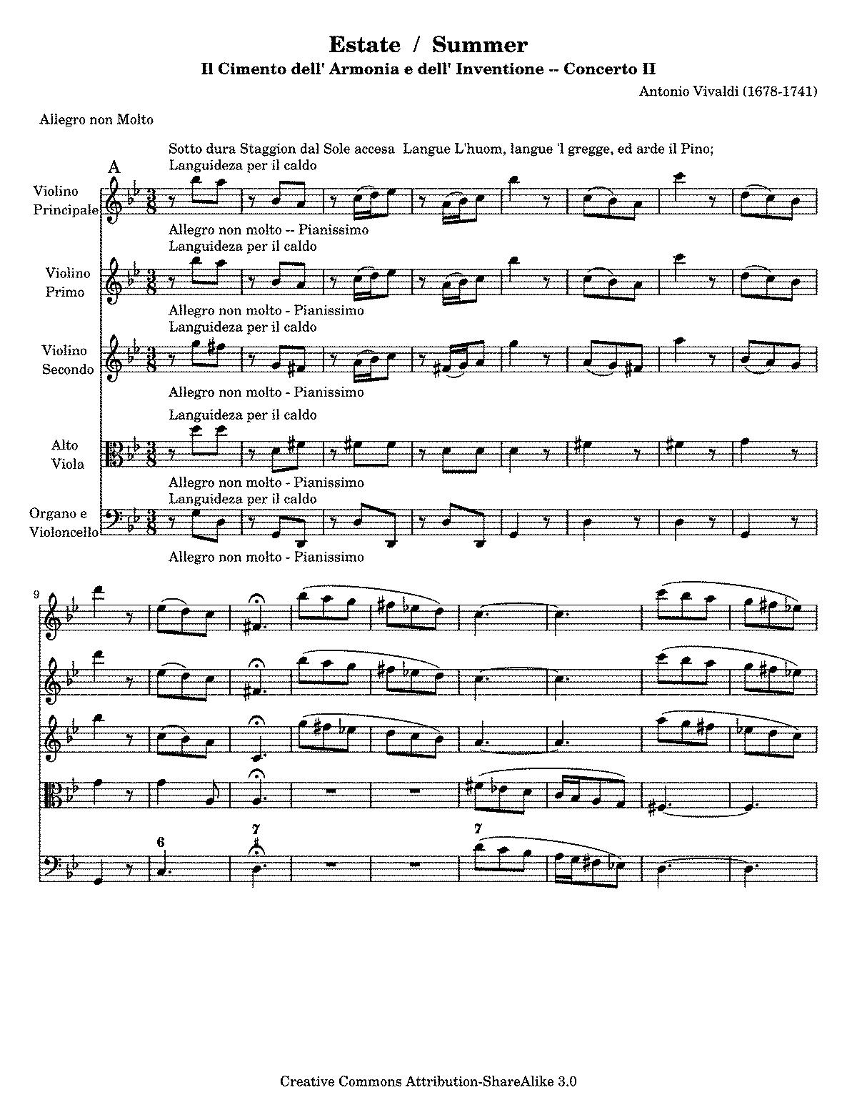 Vivaldi Four Seasons Summer Piano Sheet Music