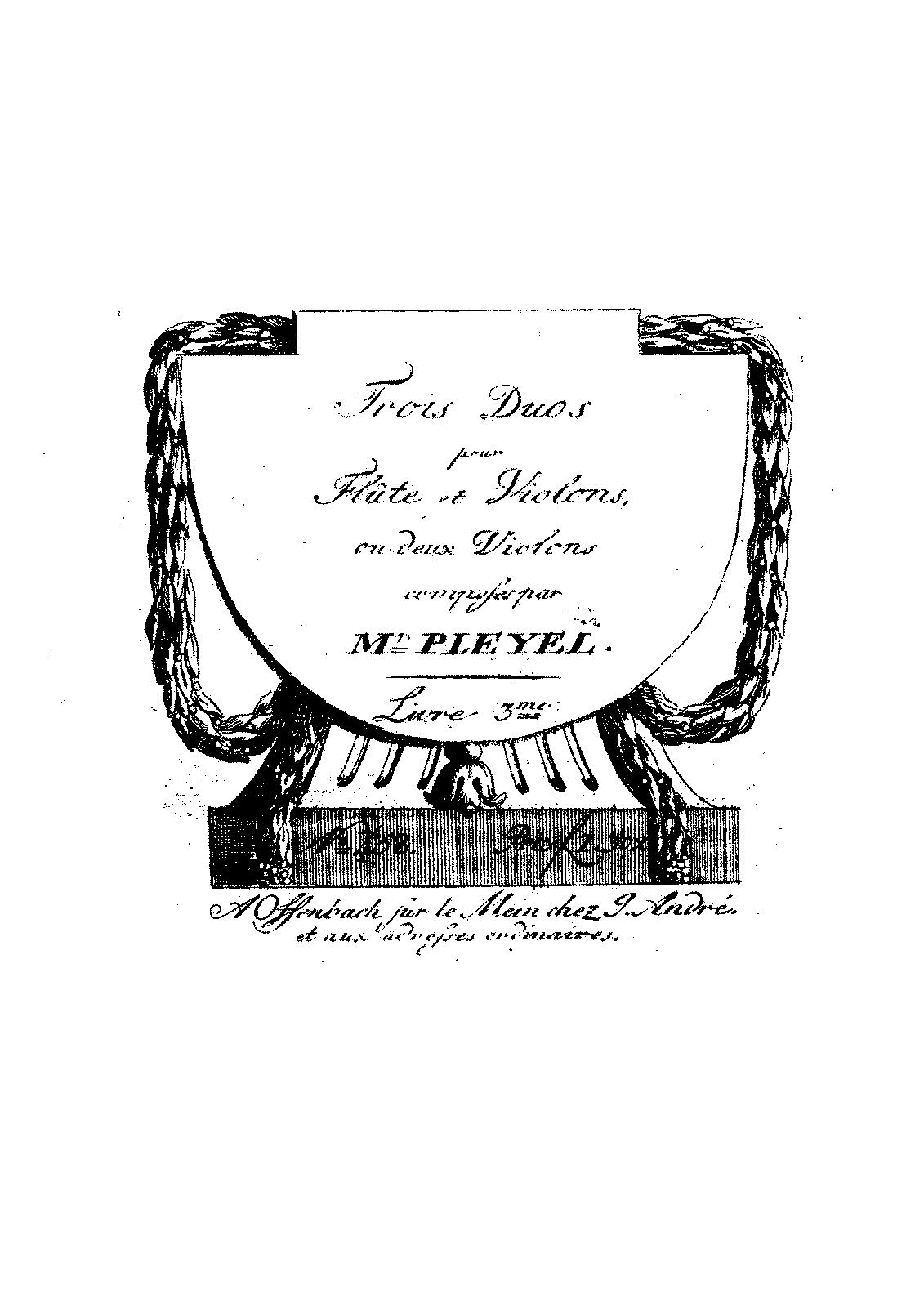 3 Duos For Flute And Violin B Pleyel Ignaz