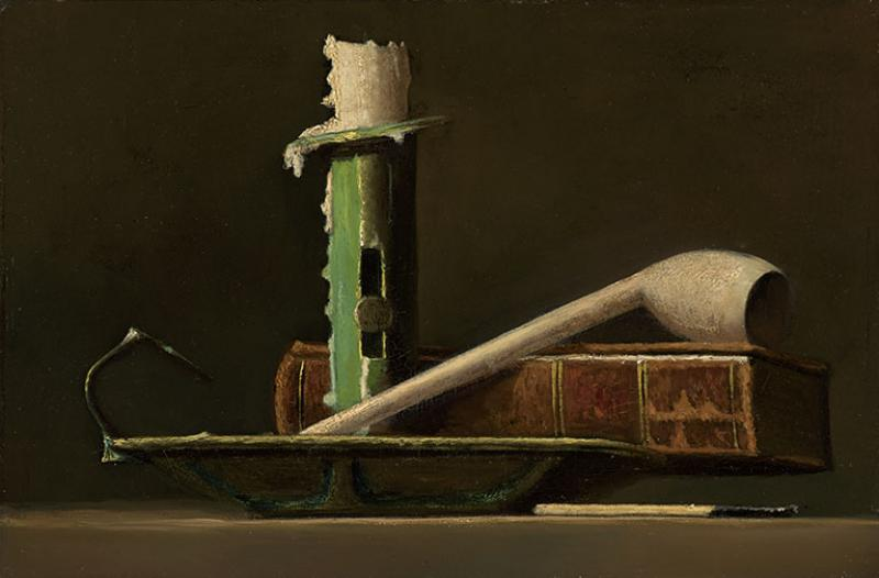 John Frederick Peto Still Life With Green Candlestick Pipe And Book C 1890s