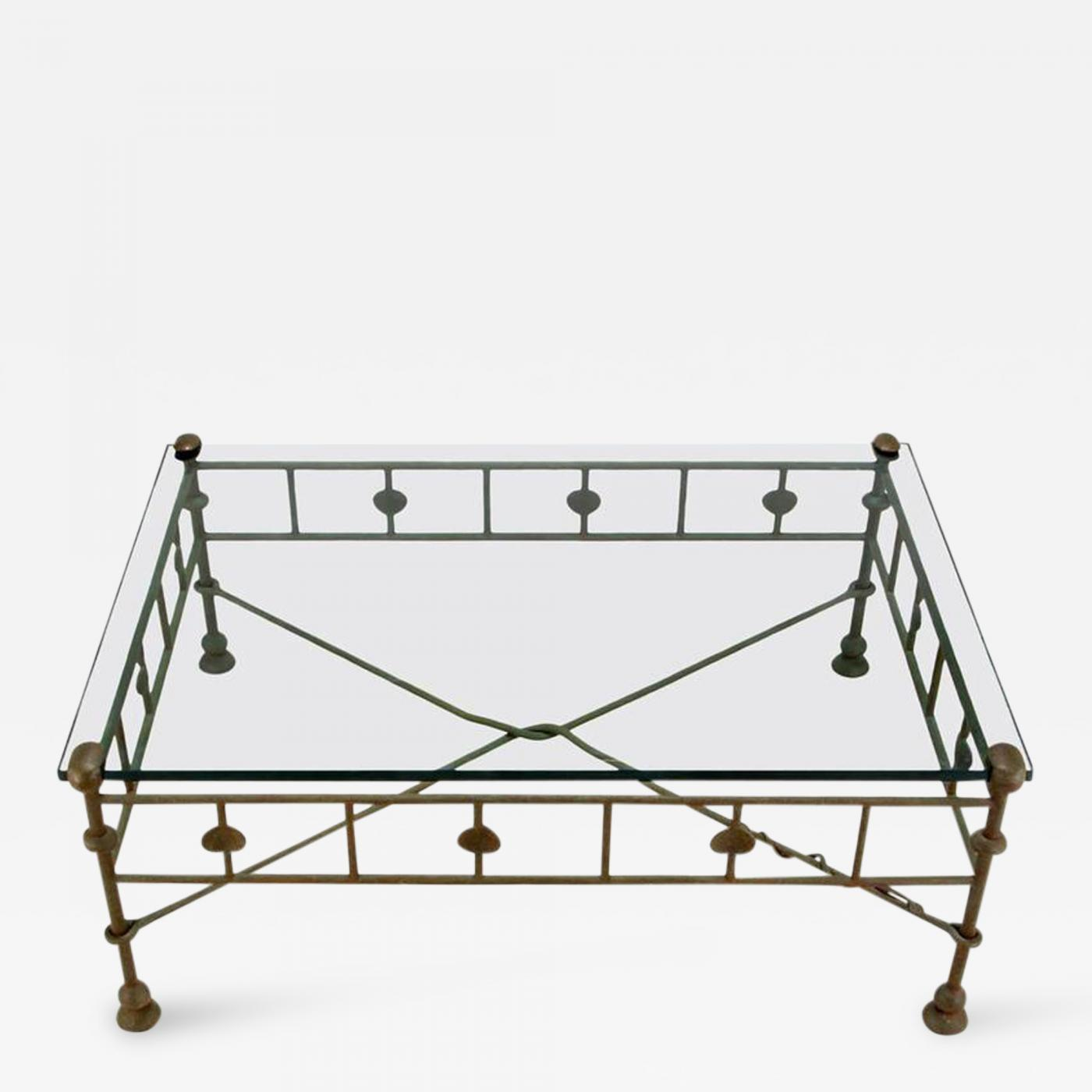 diego giacometti giacometti style patinated hand wrought iron and glass coffee table