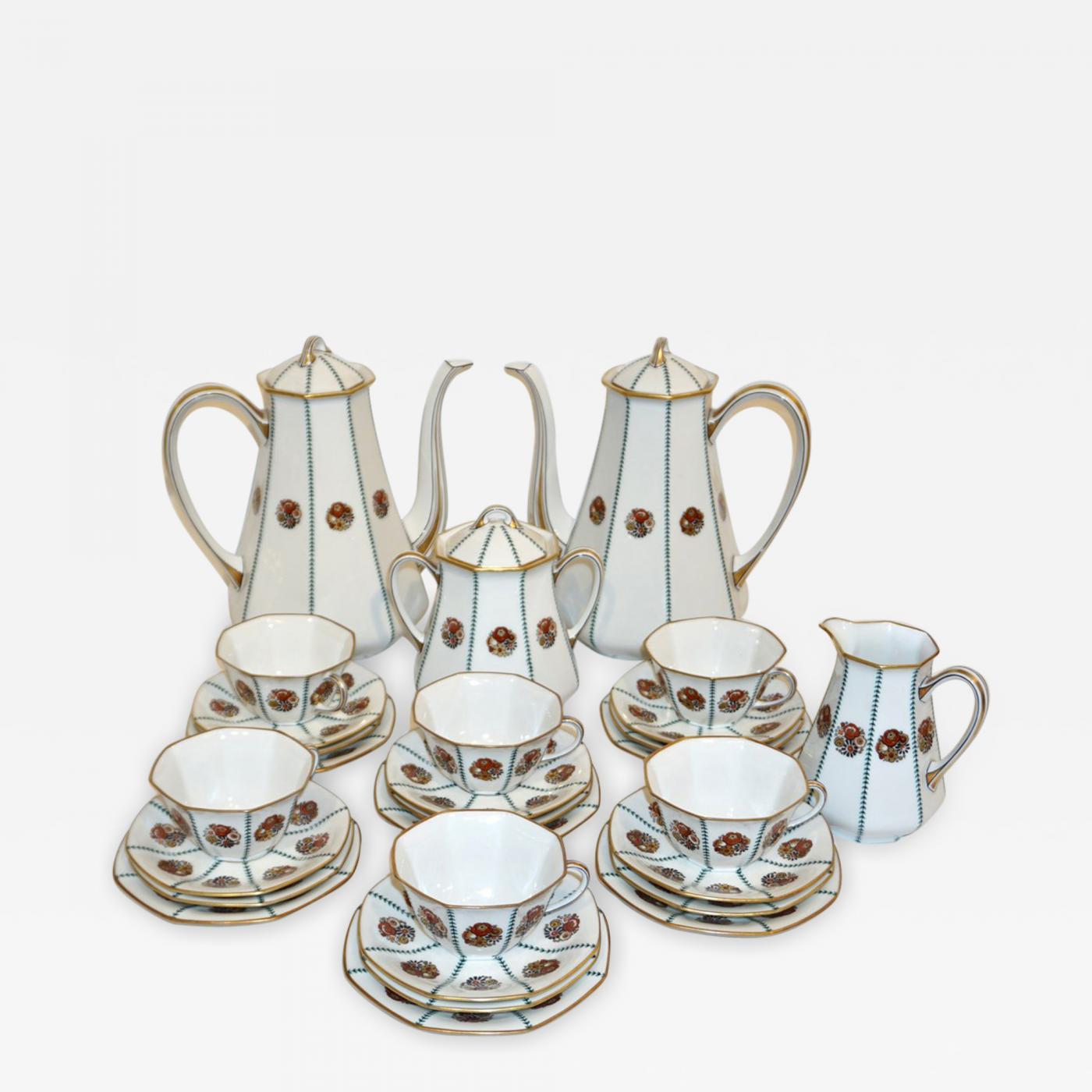 limoges 1920s french art deco limoges porcelain modern octagonal tea coffee set