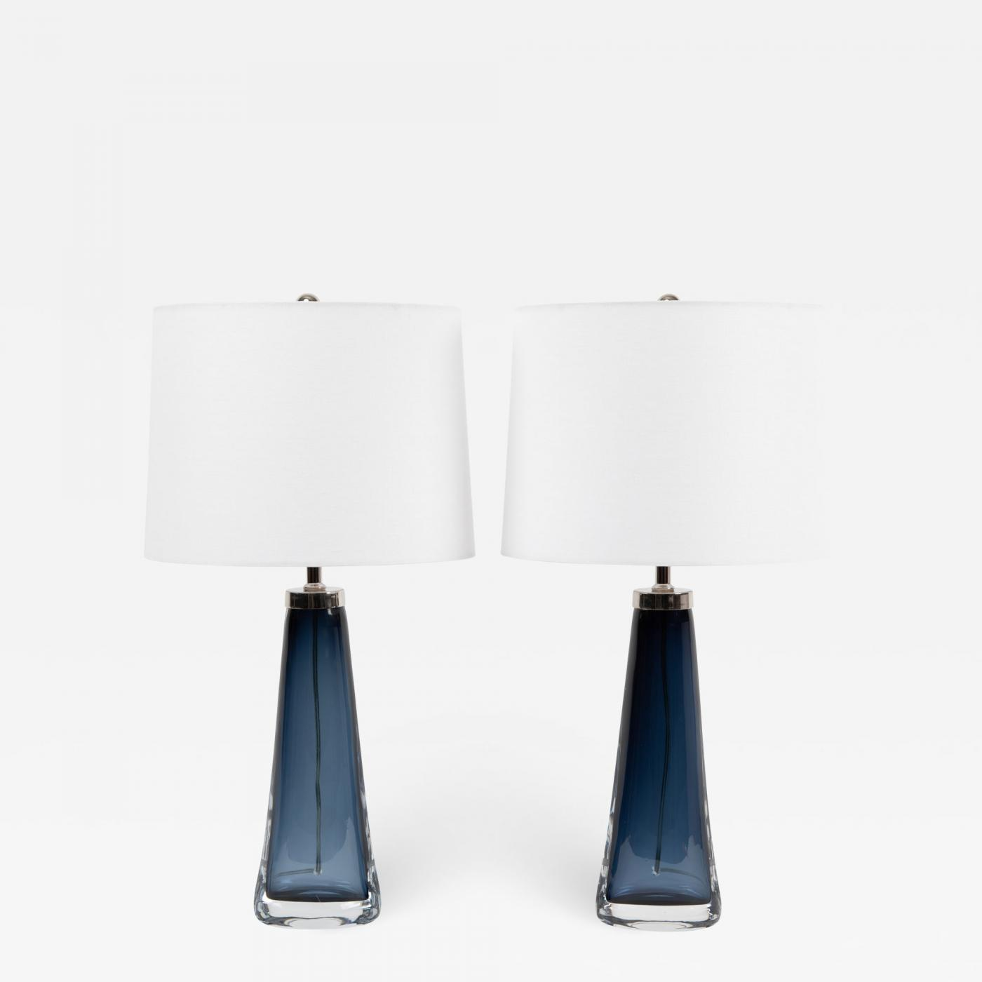 Orrefors Pair Of Carl Fagerlund For Orrefors Blue Glass Table Lamps Circa 1960s