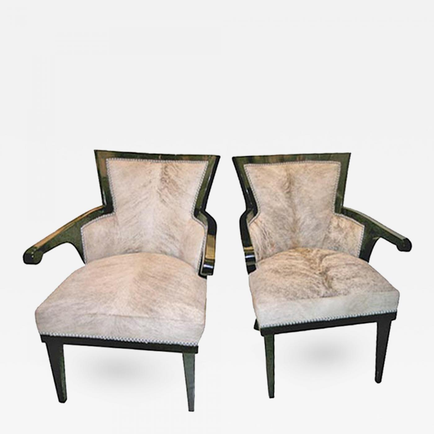 Andre Groult Pair Of Black Lacquer Cowhide Club Chairs