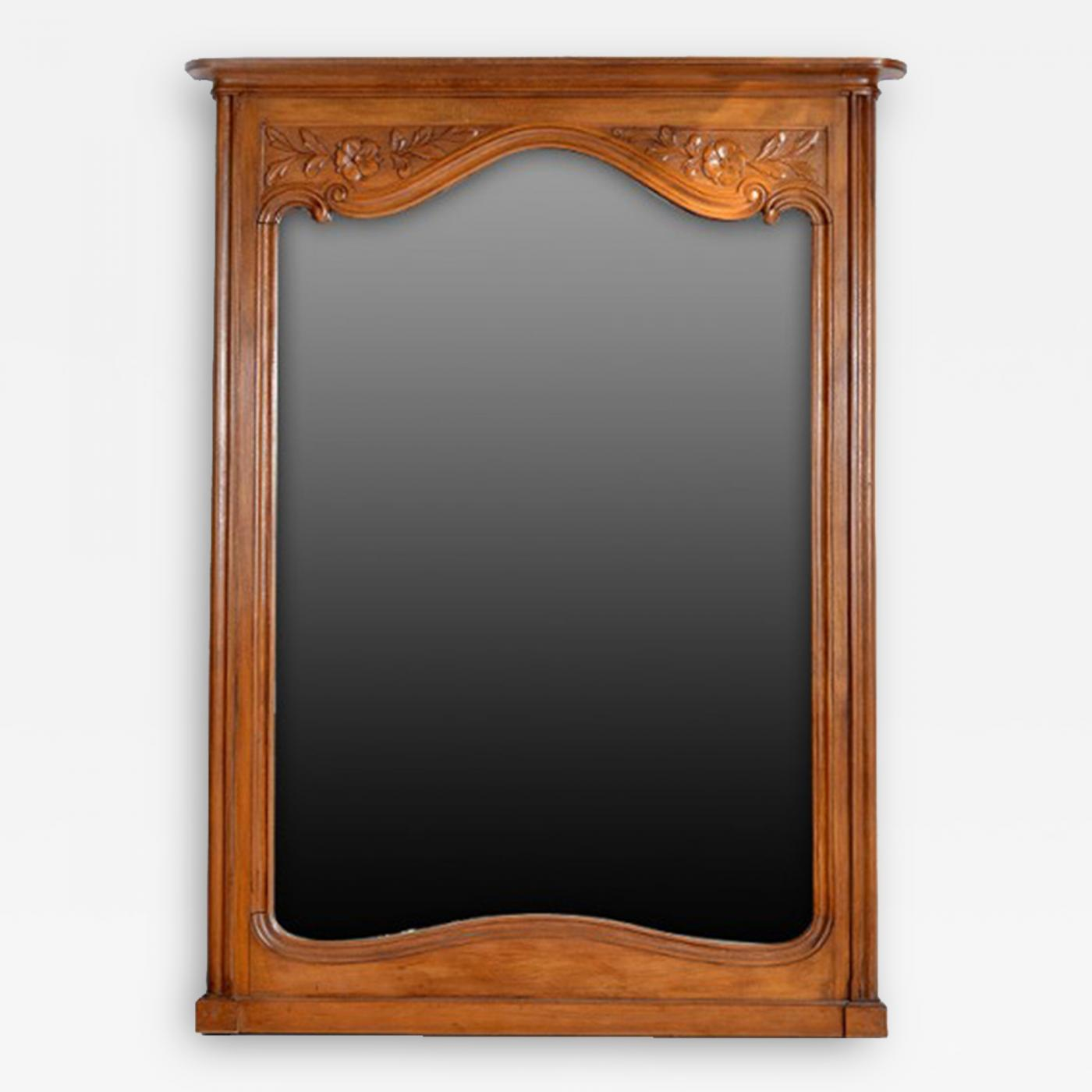 antique country french cherry wood mirror france 19th century
