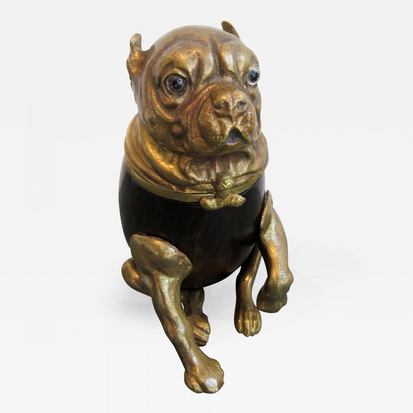 Arthur Court Signed Brass Arthur Court Bull Dog Humidor Box