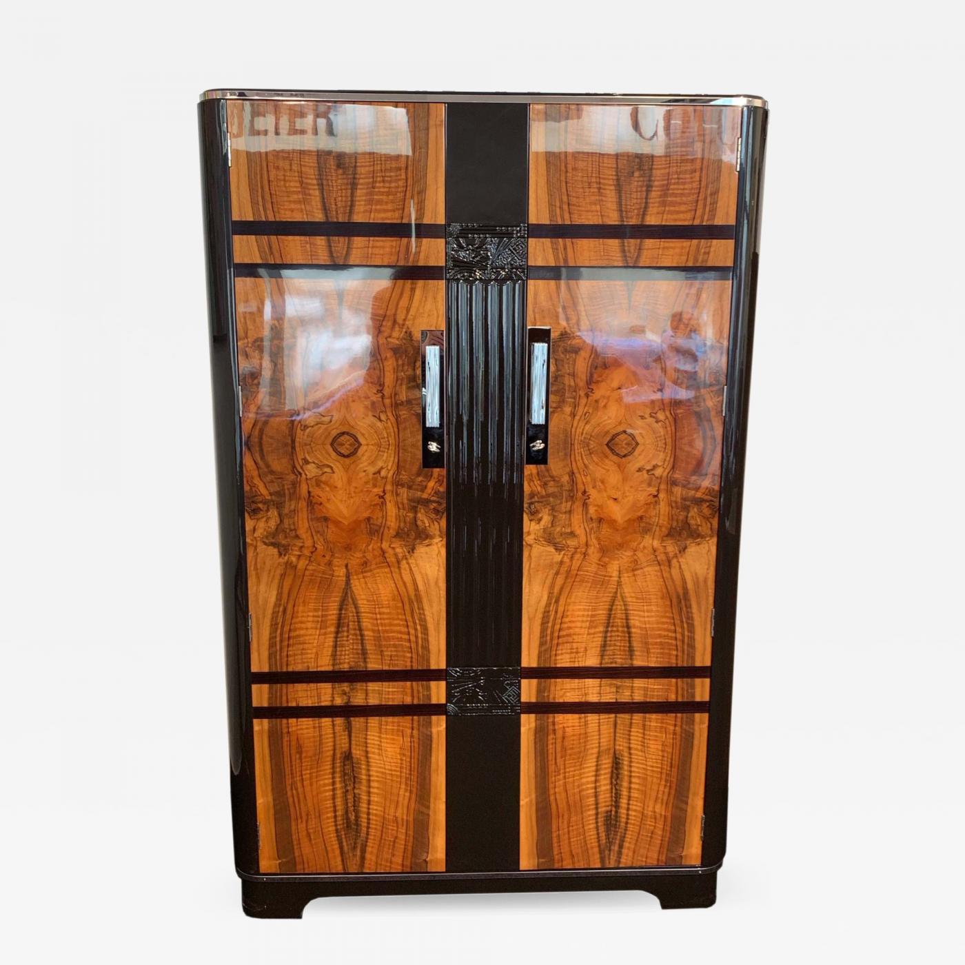 c w s ltd cabinet factory art deco armoire walnut and dark brown lacquer london circa 1930