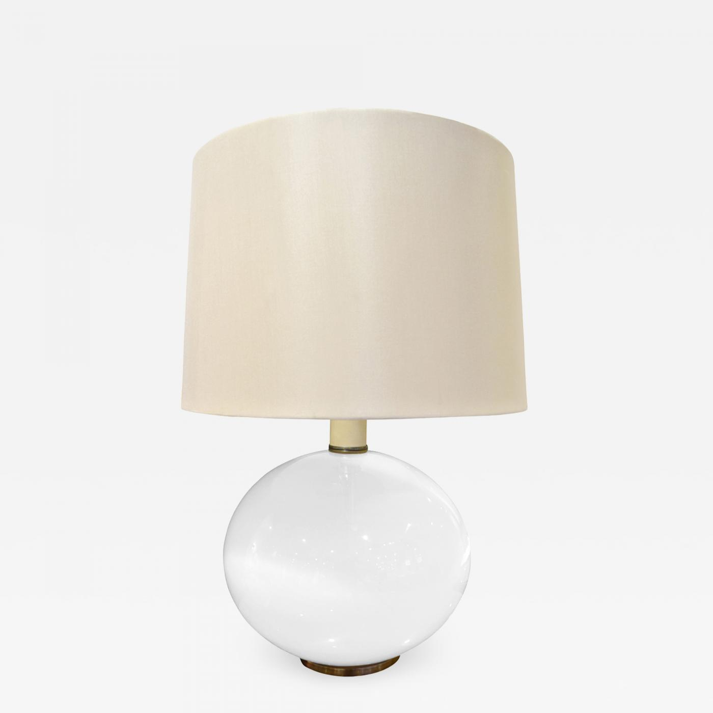 Elegant Table Lamp In White Glass With Brass Base 1960s