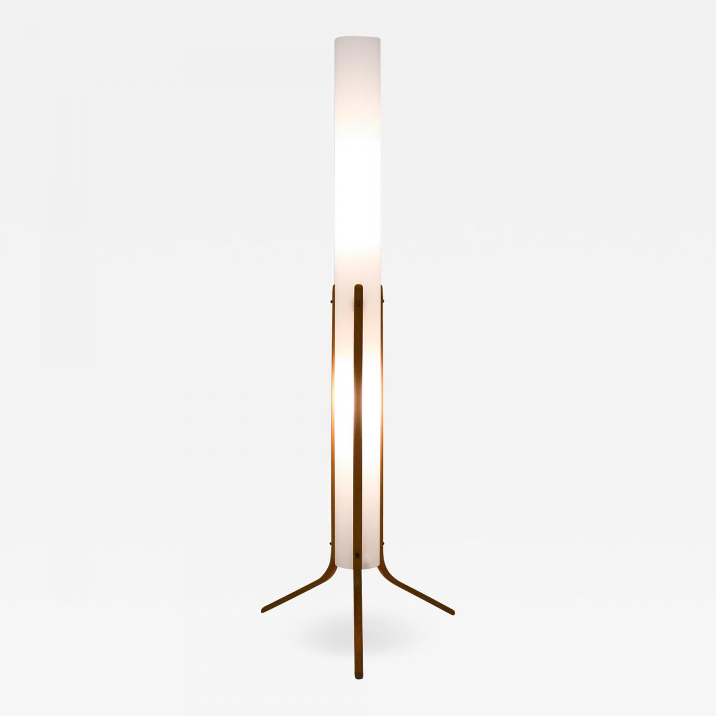 Eric Elfven Swedish Mid Century Floor Lamp In Acrylic And Beech By Eskilstuna 1960s