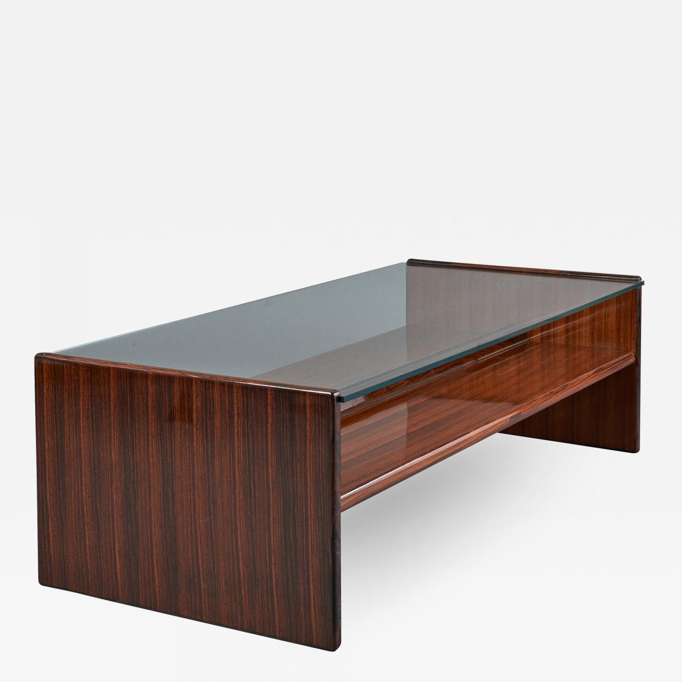 important polished wood coffee table italy 1970 s