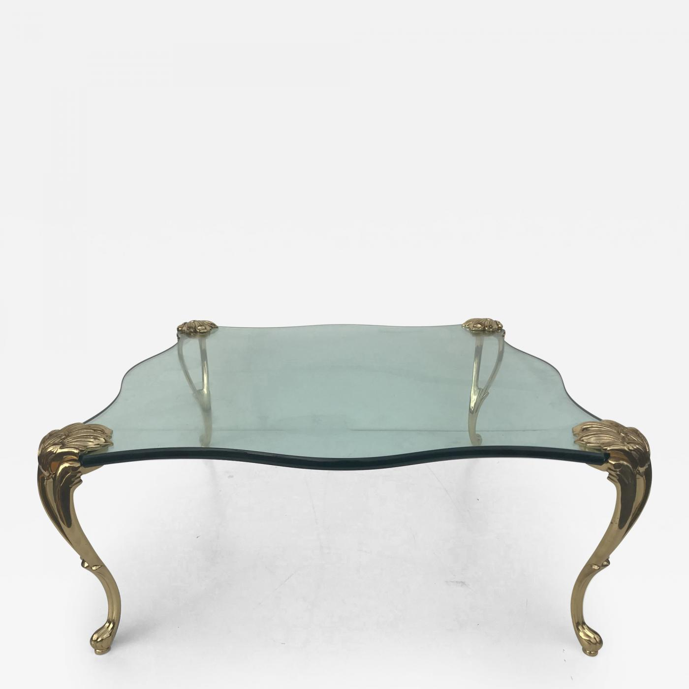 maison jansen square glass and brass coffee table manner of maison jansen