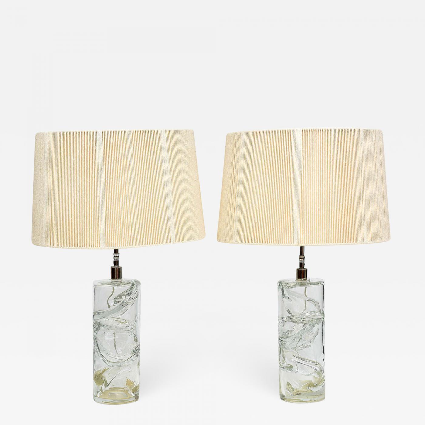 Pair Italian Modern Hand Blown Glass Table Lamps Murano 1950s