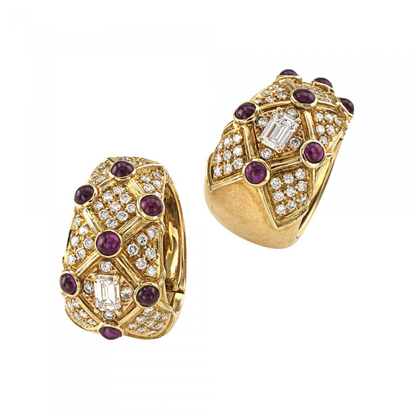 Ruby And Diamond Estate Clip On Hoop Earrings
