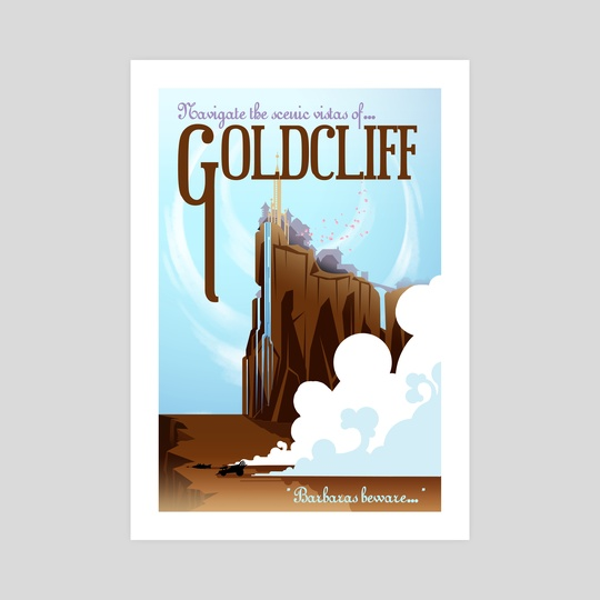 goldcliff travel poster by cas loll